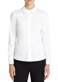Lafayette 148 New York Francine Fitted Double-Button Blouse  Francine Fitted Double-Button Blouse