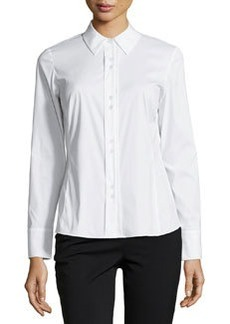 Lafayette 148 New York Francine Fitted Double-Button Blouse, White