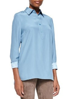 Lafayette 148 New York Frannie Long-Sleeve Button-Front Blouse