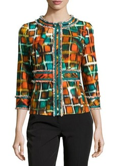 Lafayette 148 New York Frayed Tile-Print Woven Jacket