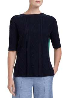 Lafayette 148 New York 'Fresco' Colorblock Cable Detail Sweater