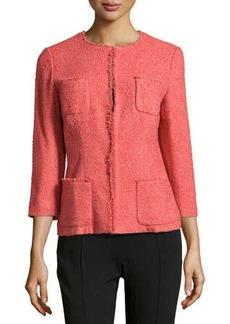 Lafayette 148 New York Fringe-Trim Boucle Jacket, Rosewater
