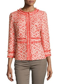 Lafayette 148 New York Fringe-Trim Tweed Jacket