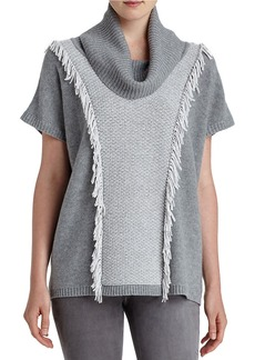 LAFAYETTE 148 NEW YORK Fringed Cowlneck Sweater