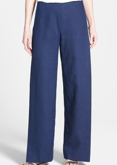 Lafayette 148 New York Front Overlay Linen Wide Leg Pants
