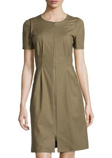 Lafayette 148 New York Full-Zip Pleated Dress, Fatigue