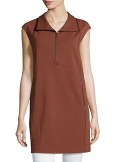 Lafayette 148 New York Funnel-Neck Half-Zip Sleeveless Tunic