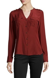 Lafayette 148 New York Gabby V-Neck Long-Sleeve Blouse