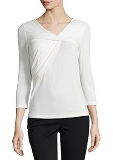 Lafayette 148 New York Gathered Silk V-Neck Tee, Cloud