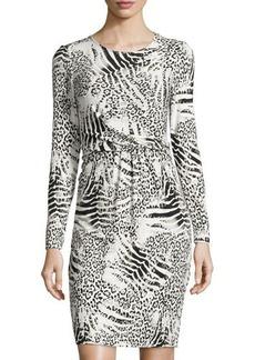 Lafayette 148 New York Gathered-Waist Animal-Print Dress