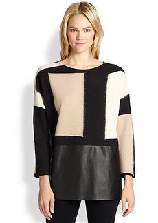 Lafayette 148 New York Geometric Flocked Jersey Oversized Sweater