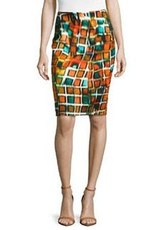 Lafayette 148 New York Geometric-Print Pencil Skirt, Habanero Multi
