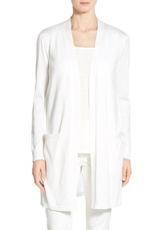 Lafayette 148 New York Georgette Back Long V-Neck Cardigan