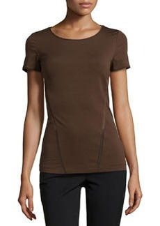 Lafayette 148 New York Georgette-Trim Scoop-Neck Tee, Espresso
