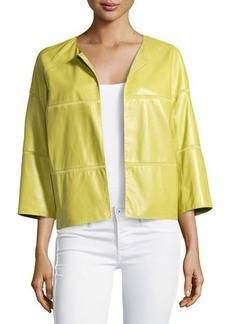 Lafayette 148 New York Georgette-Trimmed Leather Jacket