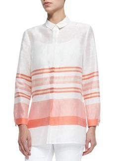 Lafayette 148 New York Gerica Linen/Silk Striped Shirt