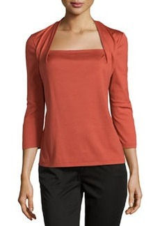 Lafayette 148 New York Giada Square-Neck 3/4-Sleeve Tee, Chili Red