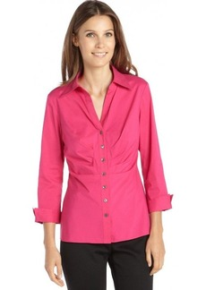 Lafayette 148 New York glam pink stretch cotton ruched 'Leila' button front blouse