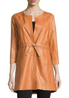 Lafayette 148 New York Glazed Weightless Leather Topper Jacket, Marmalade