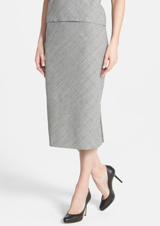 Lafayette 148 New York Glen Plaid Midi Stretch Wool Skirt