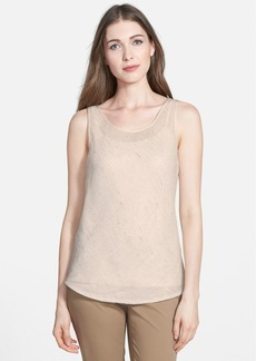 Lafayette 148 New York 'Gold Brush Mesh' Print Linen Tank