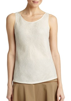 LAFAYETTE 148 NEW YORK Gold Brush Mesh Bias Tank