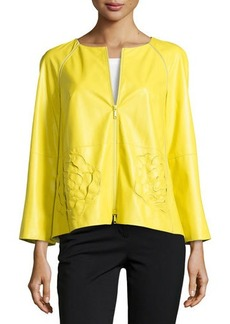 Lafayette 148 New York Grandeur Laser-Cut Leather Jacket