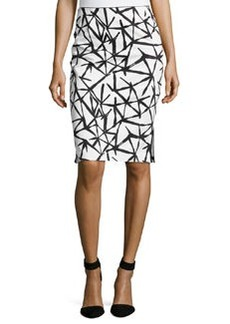 Lafayette 148 New York Graphic-Print Pencil Skirt, Black Multi
