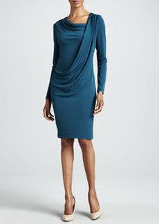 Lafayette 148 New York Grecian Drape Long-Sleeve Dress