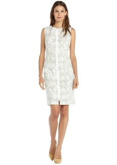 Lafayette 148 New York green and white diamond printed stretch cotton 'Addison' dress
