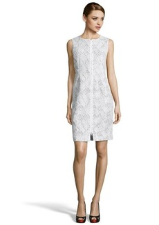 Lafayette 148 New York green and white diamond printed stretch cotton 'Addison' dress