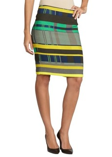 Lafayette 148 New York green printed wool pencil skirt