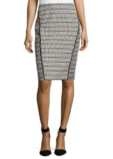Lafayette 148 New York Grid-Pattern Pencil Skirt, Black Multi