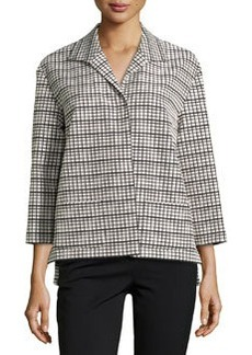 Lafayette 148 New York Grid-Print 3/4-Sleeve Topper,  Black Multi