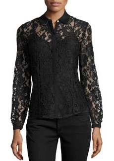 Lafayette 148 New York Haiden Floral Lace Blouse, Black