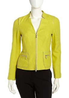 Lafayette 148 New York Haley Leather-Trim Linen Jacket, Plantain