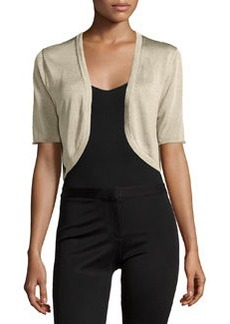 Lafayette 148 New York Half-Sleeve Cropped Cardigan, Champagne