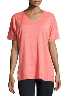 Lafayette 148 New York Half-Sleeve Knit Sweater, Dragonfruit
