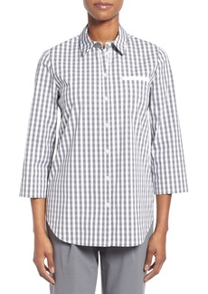 Lafayette 148 New York 'Hampton Check' Stretch Poplin Shirt