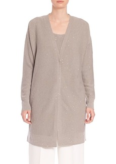 Lafayette 148 New York Hand-Sequined Link-Stitch Cashmere Cardigan