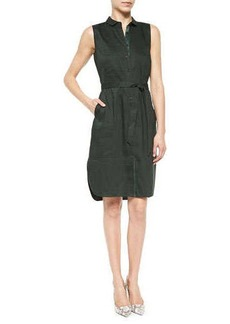 Lafayette 148 New York Harleen Sleeveless Tie-Front Shirtdress