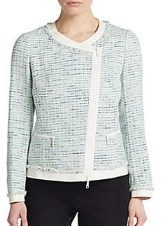 Lafayette 148 New York Harmonia Leather-Accented Tweed Jacket