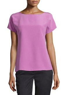 Lafayette 148 New York Hayworth Cap-Sleeve Silk Tee, Blossom