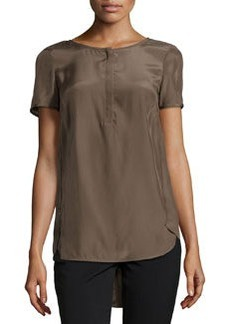 Lafayette 148 New York High-Low Short-Sleeve Blouse, Nougat