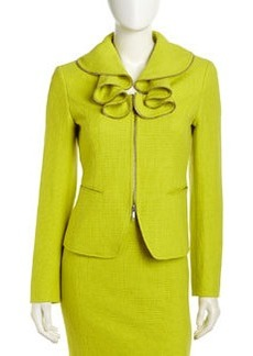 Lafayette 148 New York Hillary Ruffle-Collar Jacket, Agave