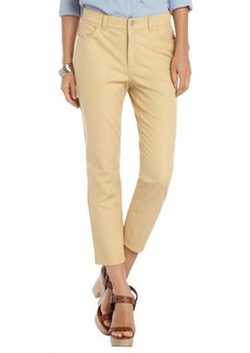 Lafayette 148 New York honeynut khaki stretch cotton woven 'Curvy Slim Cropped Leg' pants