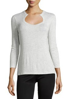 Lafayette 148 New York Horseshoe-Neck 3/4-Sleeve Tee, Ice Melange