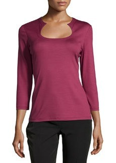 Lafayette 148 New York Horseshoe-Neck 3/4-Sleeve Tee, Pomegranate