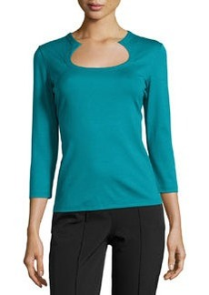 Lafayette 148 New York Horseshoe-Neck Three-Quarter Sleeve Tee, Parrot Blue