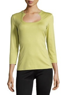 Lafayette 148 New York Horseshoe-Neck Three-Quarter Sleeve Tee, Pear